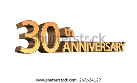 Thirtieth Anniversary Symbol Gold Letters On Stock Illustration