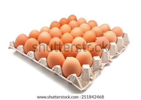 Thirty box fresh chicken eggs - stock photo