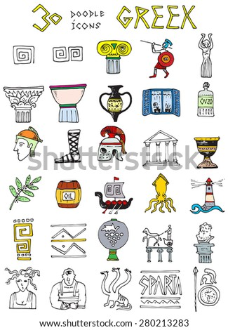thirty doodle icons illustration GREEK columns temple helmet vase soldier ship decorative simple drawings colorful