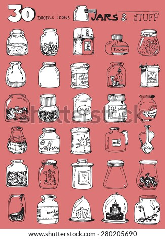 thirty doodle icons illustration JARS candy sweets jam pickles coffee powder sugar funny simple design pink