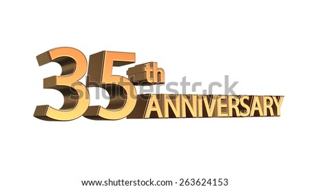 Thirtyfifth Anniversary Symbol Gold Letters On Stock Illustration