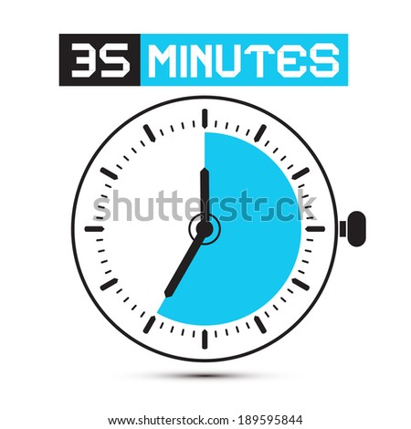 Thirty Five Minutes Stop Watch - Clock Illustration - stock photo