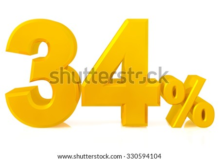thirty four percent gold 3d rendering