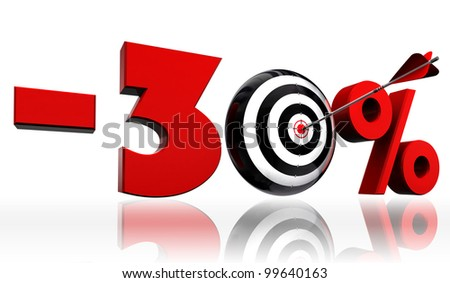 thirty per cent 30% red discount symbol with conceptual target and arrow on white background.clipping path included