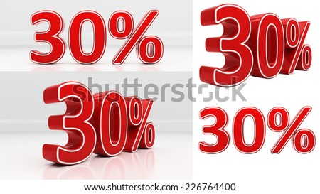 Thirty percent off. Discount 30. 3D illustration - stock photo
