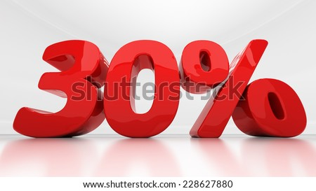 Thirty percent off. Discount 30.  Percentage. 3D illustration - stock photo