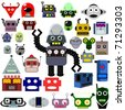 Thirty robot heads and one whole robot, retro and modern style ( vector version in portfolio ) - stock photo