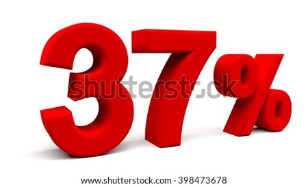 Thirty seven percents 3D text, with big fonts isolated on white background. 3D rendering.