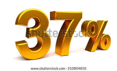 Thirty seven percents 3D text, with big golden fonts isolated on white background. Rendered illustration.