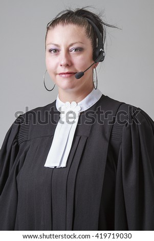 thirty something lawyer woman with a headset
