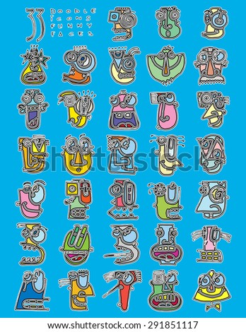 thirty three doodle icons FUNNY FACES silly characters simple drawing color H