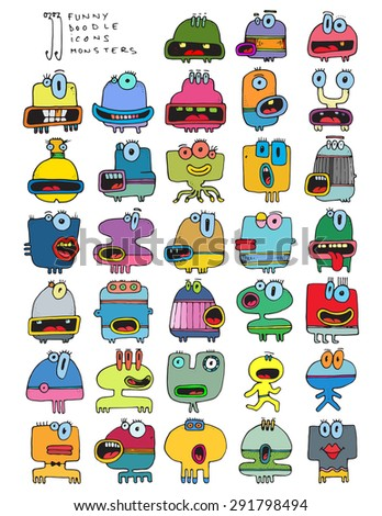 thirty three doodle icons MONSTERS funny silly simple drawing characters color A