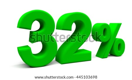 Thirty two percents 3D text, with big fonts isolated on white background. 3D rendering.