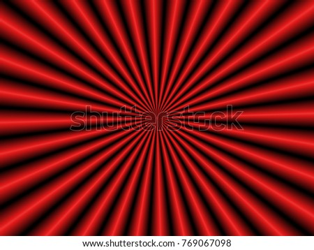 Thirty Two Rays in Red / An optically challenging geometric abstract image with a monochrome thirty two ray design in red.