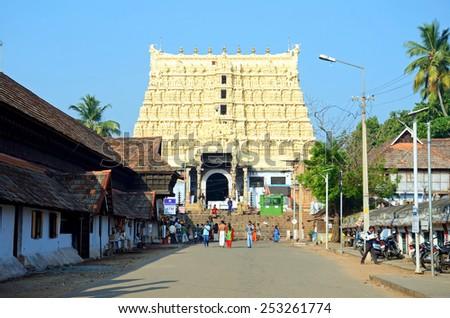 THIRUVANANTHAPURAM, INDIA - FEBRUARY 2, 2015:  Padmanabhaswamy temple was built in the Dravidian style and principal deity Vishnu is enshrined in it. - stock photo