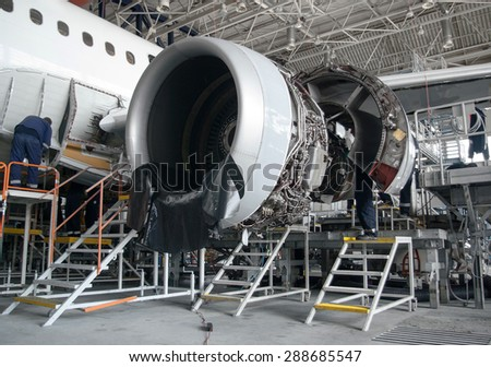 This airplane is disassembled and workers and engineers are seen working during repair and modernisation work in the Lufthansa Technik hangar in Sofia, Bulgaria, May 19, 2014.