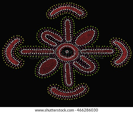 This artwork depicts an aboriginal dot painting of a woman meeting place in vibrant earth tones