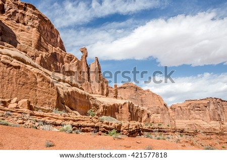 This balanced rock is one of many to be found in Arches National Park and Utah - stock photo