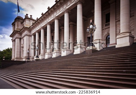 This building is Melbourne Parliament House in Victoria, Australia. From 1901 to 1927 it was used by the National Government before it moved to Canberra. - stock photo