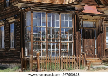 This building is one of dozens that are remarkably well preserved at California's Bodie gold mining ghost town. - stock photo