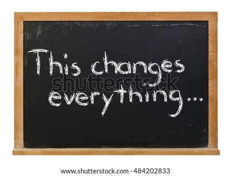 This changes everything written in white chalk on a black chalkboard isolated on white