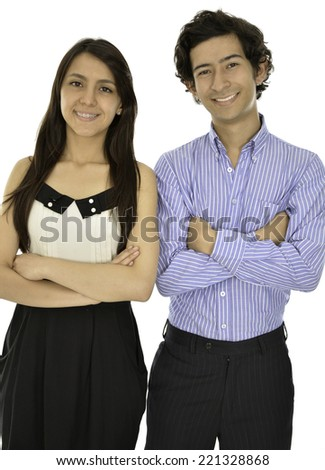This coplue wear a formal clothes they smile and look fresh - stock photo