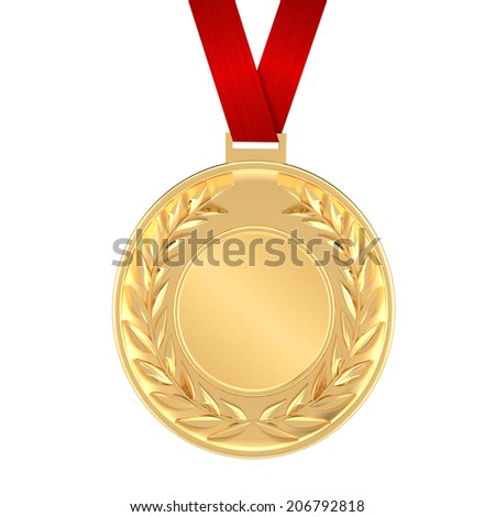 This gold medal has a red ribbon and a 3D gold laurel with a blank center for customizing - stock photo