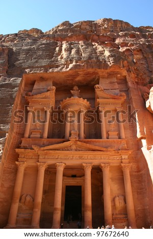 This hand carved facade is known as the treasury at the rock city of Petra in Jordan