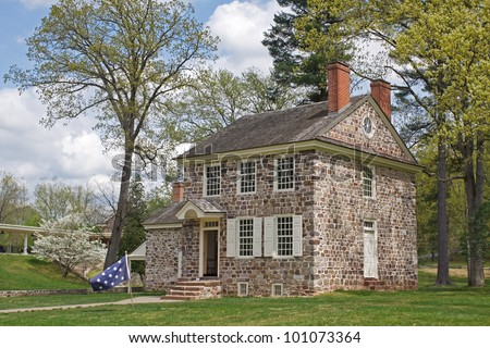 This house at the Valley Forge National Historical Park was George Washington's winter headquarters.Here the General coordinated the daily operations of the of the entire Continental Army. - stock photo