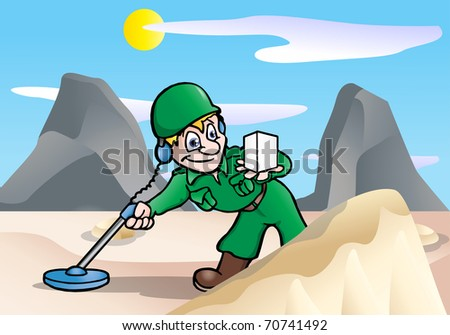 This illustration depicts a military  male soldier using a metal detector on desert background
