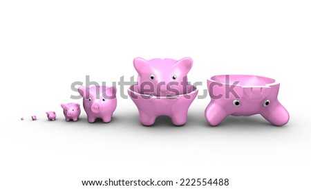 This illustration show a saving money concept. Piggy banks replace the Russian dolls. - stock photo