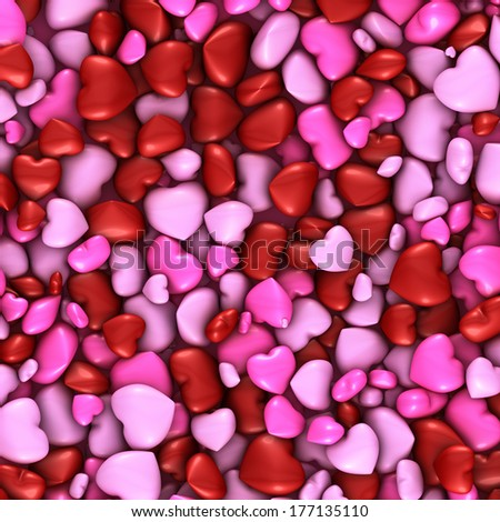 This illustration shows several hearts like stacked candies - stock photo
