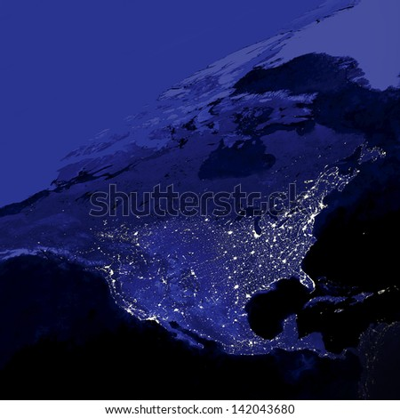 This image of United States city lights was created with data from the Defense Meteorological Satellite Program (DMSP) Operational Linescan System (OLS). N.A.S.A. Image Edited - stock photo