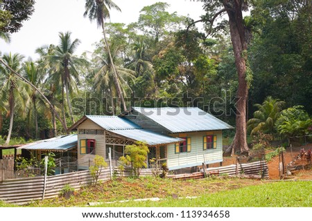 This image shows a Attap House on Pulau Ubin, Singapore - stock photo