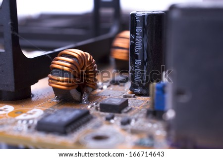 This image shows a computer motherboard with some sectors closeup !