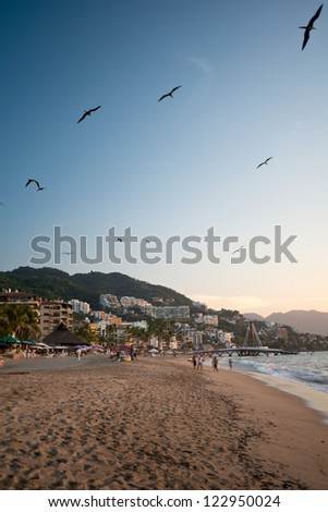 This image shows a Puerto Vallarta sunset scene, Jalisco, Mexico - stock photo