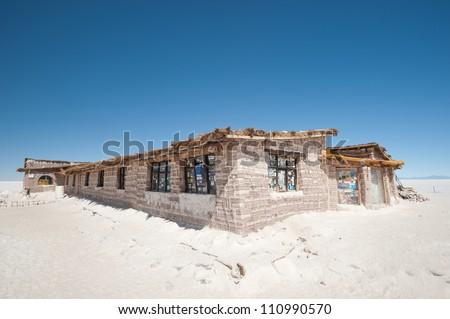 This image shows Bolivia's Salar De Uyuni Salt Hotel Museum - stock photo