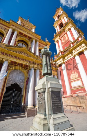This image shows Iglesia San Francisco in Salta, Argentina - stock photo
