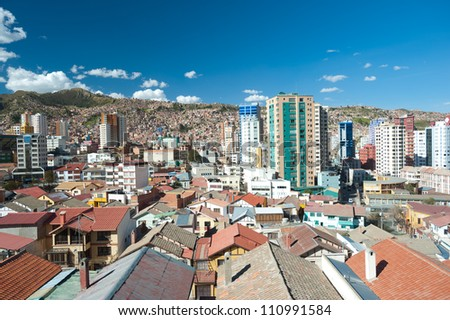 This image shows La Paz, Bolivia - stock photo