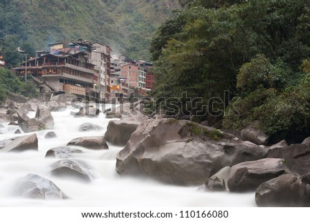 This image shows the area of Aguas Calientes, Peru