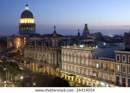 This image shows the Capitolio by night - Havana, Cuba - stock photo