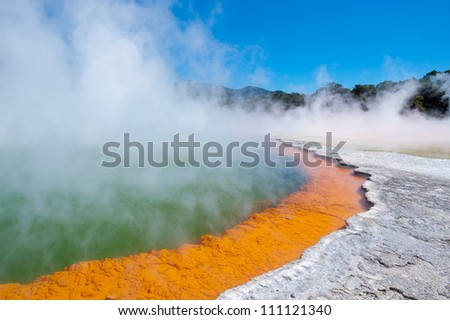 This image shows the Champagne Pool in Wai-O-Tapu Geothermal Wonderland, New Zealand - stock photo