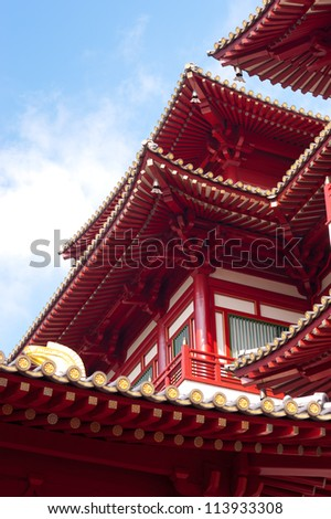This image shows the detail of the Buddha's Relic Tooth Temple in Singapore Chinatown - stock photo