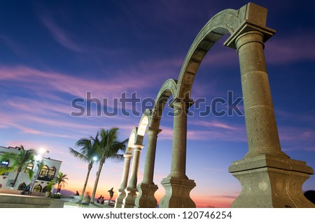 This image shows the Los Arcos in Puerto Vallarta, Mexico - stock photo
