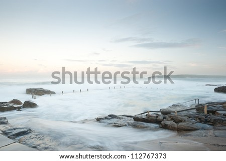 This image shows the shore line at Mahon Pool, Sydney, Australia