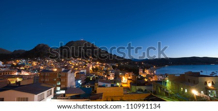 This image shows the town of Copacabana, Bolivia