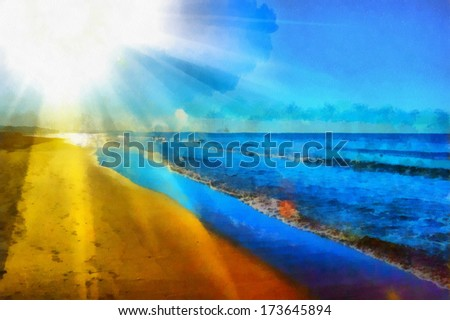 This image was created as digital imitation of watercolor painting on textured canvas - stock photo