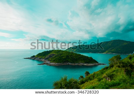 This image was taken in Phuket Thailand. The beach is very smooth sand and nice view to travel. - stock photo