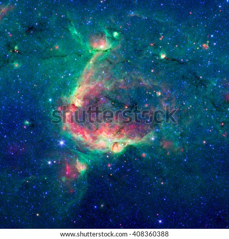 This infrared image shows a hierarchical bubble structure, in which one giant bubble has triggered the formation of smaller bubbles. Retouched image. Elements of this image furnished by NASA. - stock photo