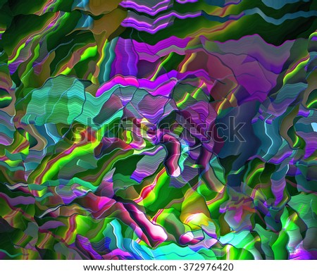This intense abstract background with wild, rich colors and an overall glow, was created with software and reminds me of tropical or island themes.   - stock photo